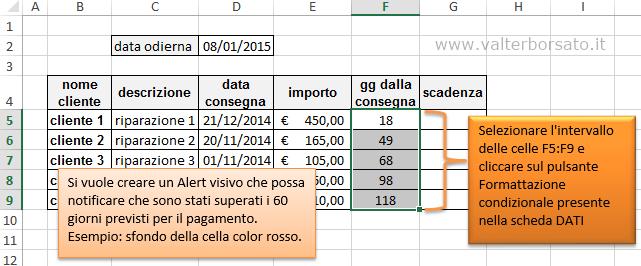 Excel pagamenti e scadenze cambio di colorazione dei - Scadenze di pagamento ...