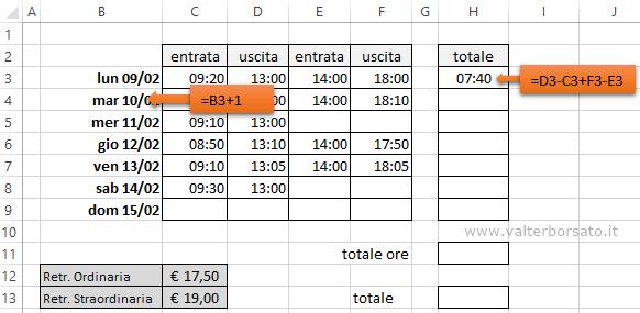 Calendario Presenze Excel.Orario Di Lavoro Excel Calcolo Ore Ordinarie E Straordinari