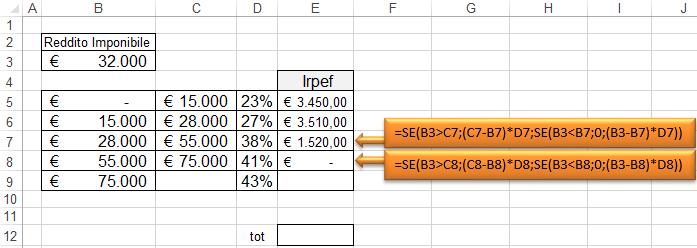 Excel calcolo irpef come calcolare l 39 irpef in un foglio for Capienza irpef per detrazioni