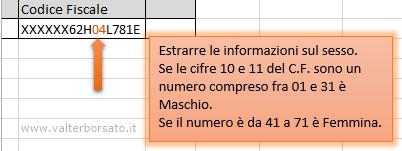 Estrarre dti con excel dal codice fiscale dal codice for Codice fiscale da stampare