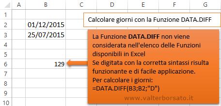 best service 45d9c b8e41 Fuzione DATA.DIFF per calcolare la differenza di giorni ...