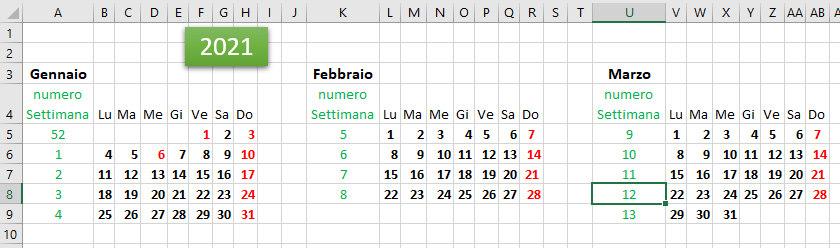 Calendario Excel 2021, Scarica i calendari modificabili del 2021