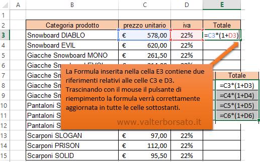Excel | Rifermento di cella relativo