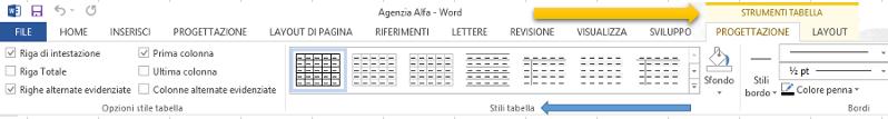 Word | Scheda Strumenti tabella: Progettazione e Layout