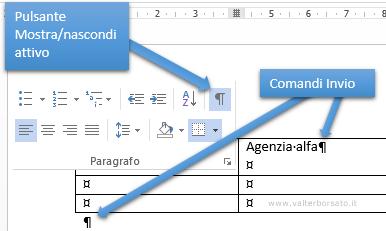 WORD | Creazione tabelle, pulsante mostra nascondi