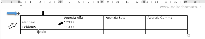 Word | Selezione dati nelle tabelle